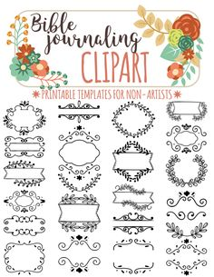 22 PRINTABLE TEMPLATES For Bible Journaling Verse Art Illustrated Faith Clipart Stamps Scripture Printable Stencils