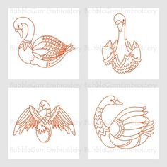 Redwork Swans Embroidery Designs Instant Download