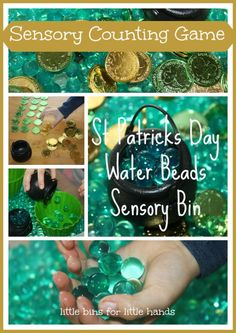 Water Beads St Patricks Day Sensory Bin and Coin Counting Game | Little Bins for Little Hands