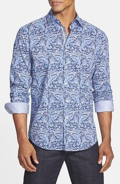 Bugatchi Shaped Fit Paisley Sport Shirt available at #Nordstrom