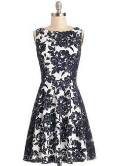 Meet at the Museum Dress - Blue, White, Floral, Lace, Daytime Party, A-line, Sleeveless, Better, Mid-length, Cotton, Woven, Graduation