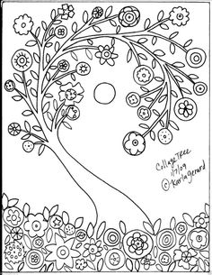 Paper Embroidery Patterns Rug Hook Crafts Paper Pattern Collage Tree Folk Art Abstract Primitive Karla G Floral Embroidery Patterns, Folk Embroidery, Paper Embroidery, Learn Embroidery, Embroidery Designs, Art Floral, Coloring Books, Coloring Pages, Colouring