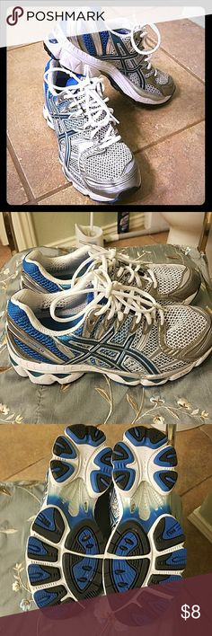 Oasics tennis Great tennis shoes.. almost nee condition.  They are too big for me. O recieved them as a present. Worn pnce. Clean condition.  Blue and white color. oasics Shoes Athletic Shoes