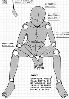 Seated and Laying Manga Female Pose Reference.