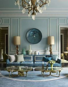 Bedroom wall inspiration: Specifically, Duck-Egg Blue w/ Louis XV French-style architectural mouldings.
