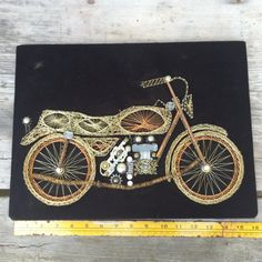 SALE Motorcycle string art wire art 1970s por AntiqueJewelrySupply