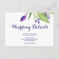 Elegant summer floral wedding guest details enclosure card Beautiful Wedding Invitations, Elegant Invitations, Wedding Stationery, Invitation Kits, Floral Theme, Wedding Website, Floral Wedding, Paper Texture, Wedding Details