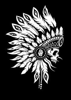 Skull Stencil, Skull Art, Dream Catcher Native American, Native American Art, Indian Skull Tattoos, Indian Tattoo Design, Native Tattoos, Graffiti Lettering Fonts, Arte Tribal