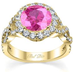 Pink Sapphire Halo with Twisted Shank