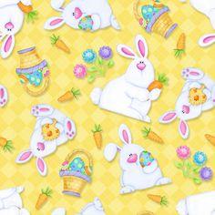 6682-44 - Hippity Hop! - Yellow Bunnies & Baskets - 100% Cotton