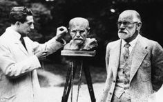 Sigmund Freud Poses for a Bust- Freud is one of the most intellectual men of his time. Here he looks slightly amused as he sits for a bust to be carved of his face.