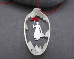 Is special to me because my first big tap number with just me and my dance friend Aubrey was to step in time,she passed away when we were like 14,I think of her every single time I see Mary Poppins.. Mary Poppins Spoon Necklace, Vintage Tea Spoon Necklace, Handmade Jewelry, Disney Jewelry, Silverware Jewelry, Gift for Teacher, Umbrella