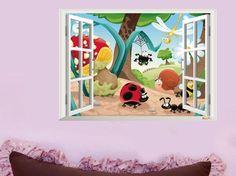 3D adesivo de parede 3D insetos da família dos insetos do mundo de crianças sala de falsificação is