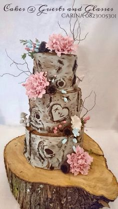 Paper Bark Tree Stump Wedding Cake. Dark Chocolate & Caramel. Carina Sephton 0823005301. Area: Moumalanga: Lydenburg, Dullstroom, Burgersfort, Nelspruit & Machadodorp.