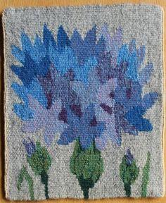 Flamsk med blåklint  - flamskvävnad - 18,5 x 15,5 cm
