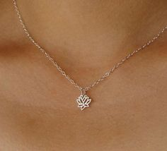 Silver Lotus Flower Necklace on Sterling Silver, small lotus, holiday gift, wedding jewelry on Etsy, $23.00