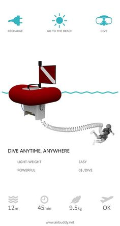 Easy and free shallow water diving with AirBuddy. AirBuddy is an electric, surface supplied diving equipment. Also known as hookah or SSBA. Unlike SCUBA, AirBuddy does not require any air tanks and other bulky gear such as BCD (buoyancy control device). Scuba Diving Equipment, Best Scuba Diving, Swimming Diving, Scuba Diving Gear, Snorkelling, Kayak Fishing, Spear Fishing, Fishing Tools, Water Crafts