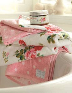 Cath Kidston Antique Rose Bouquet Towels at Oldrids  Downtown http://www.oldrids.co.uk/CAT7/By_Room/Bathroom/Bath_Linen/Cath_Kidston_Antique_Rose_Bouquet_Towels/Product #bathroom #accessories
