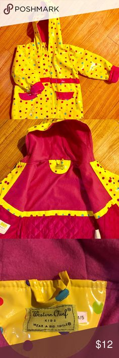 Toddler girl lined raincoat size 4-5 EUC, barely worn! Bright colors & very comfortable rain coat! Size 4-5 Western Chief Jackets & Coats Raincoats