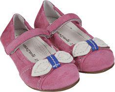 Romagnoli - scarpe da bambina - ballerina con velcro con fiocco in pelle in punta. Tomaia in pelle colore fuxia con riporti in pelle bianco, fodera in pelle bianco e fondo in gomma.