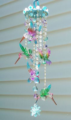 Hummingbirds Crystal Wind Chime (outside Marq's place -- for Lylith -- on Avian Court) Use solar light birds