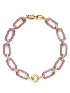 Givenchy Gold, Crystal, & Purple Lucite Link Necklace by House of Lavande on Gilt.com