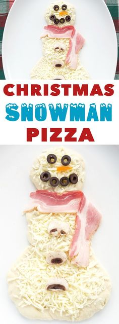 Bacon Ranch Mushroom Snowman Pizza for Christmas Movie Night