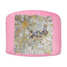 New! Stunning Bluebirds in the Snow Designer Pouf Ottoman Pink Round Pouf by Marie-Jose Pappas of Innocent Originals. #decor #pouf #ottoman #whimsical #innocent originals #marie-jose pappas
