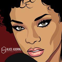 Ilustração: Rihanna #anime #illustration #art #aliceadorno #digitalart #nygga #riri #rihanna #rapper #usa #drake #brazil #popart #work #music #pop #artist