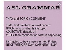Here is the simplest way to remember ASL grammar. The TNAV rule always… Asl Words, Sign Language Phrases, Learn Sign Language, Speech Language Pathology, Speech And Language, Language Lessons, Second Language, Foreign Language, Asl Interpreter