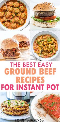 This collection of 15 Instant Pot Ground Beef Recipes includes comfort food classics, family favorites and healthier fare. Plus each and everyone is affordable, simple to make, and super flavorful! Includes pasta, meatloaf, meatballs, chili and more. Great for dinner, meal prep, lunch and freezer friendly. Click through to get these awesome ground beef Instant Pot recipes!! #instantpot #instantpotrecipes #instantpotgroundbeefrecipes #pressurecooker #pressurecookerrecipes #groundbeef #beef Best Instant Pot Recipe, Instant Pot Dinner Recipes, Supper Recipes, Lunch Recipes, Seafood Recipes, Soup Recipes, Easy Recipes, Dessert Recipes, Instant Pot Pressure Cooker