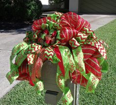 Deco Mesh Mailbox Swag for Christmas in lime green and red.