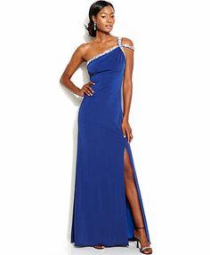 JS Boutique One-Shoulder Embellished Gown