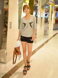 韓版小鳥圖案五分袖休閒長版t恤