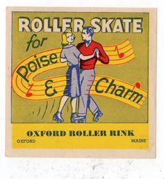 OXFORD MAINE*ROLLER RINK*KENDALL*BALTIMORE*VINTAGE ROLLER SKATING DECAL STICKER