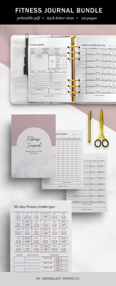 Fitness and Health Planner Bundle, Fitness Tracker and Workout Planner, Meal and Goal Planner, Minimalist Planner For Individual Who Loves Minimalistic And Clean Design, Instant Download! #fitnessplannerbundle #printablebundle #fitnessjournal #fitnessprintable #minimalistplanner #dailytracker #mealplanner #workoutplanner #minimalistplanner #minimalistpapersco #etsyplanners Workout Planner, Workout Calendar, Fitness Planner, Workout Log, After Workout, Planner Dividers, Goals Planner, Goals Sheet, Health Planner