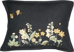 Hand-embroidered Flora Garden Blk/Honey