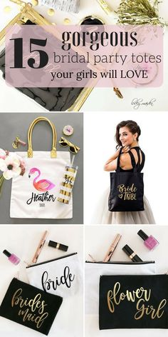 15 fun bridesmaid tote bags your girls will love and use long after your big day! Junior Bridesmaid Gifts, Bridesmaid Gifts From Bride, Bridesmaid Makeup Bag, Bridesmaid Tips, Beach Bridesmaids, Will You Be My Bridesmaid Gifts, Bridesmaid Gift Bags, Bridesmaid Proposal Box, Wedding Gift Bags