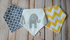 Baby Bandana Bibs- Set of 3 Gender Neutral Bandana Bibs- Pewter Rings, Grey Elephant, Yellow Chevron