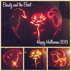 Beauty and the beast pumpkin carving , My Favorite Disney princess movie <3