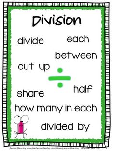 FREEBIE - Multiplication and Division Key Word Posters by Games 4 Learning - Also includes Key Word cards for sorting activity.