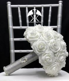 White BROOCH BRIDAL Bouquet. White Bridal Bouquet with Two Real RHINESTONE Crystal Brooch Sparkly Cuffs and Large Brooch. Quinceanera Bouquet. Pick Rose Color!  Bouquet Measures approximately 12 width x 12 height WHITE Bouquet Pictured With SILVER Ribbon Handle, RHINESTONES Flower Ball Centerpiece, Red Centerpieces, Mickey Centerpiece, Crown Centerpiece, Hot Pink Weddings, Aqua Wedding, Bling Wedding, Corsage Wedding, Bridesmaid Bouquet