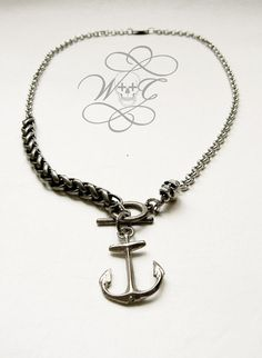 Silver Anchor And Skull With Mixed Chains Necklace