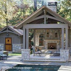 Outdoor Fireplace Patio, Outdoor Kitchen Patio, Outdoor Fireplace Designs, Outdoor Kitchen Design, Covered Outdoor Kitchens, Pool House Designs, Backyard Pool Designs, Pavillion Backyard, Fresco