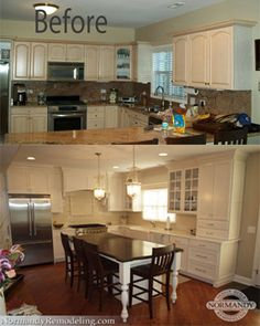 """The vintage style in the after photo of this kitchen remodel is stunning!  The white cabinets and granite countertops definitely fit the style of the historic Dutch Colonial home to a """"t"""" - with all the modern amenities of course!"""