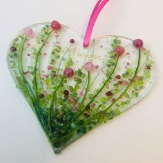 Fused Glass Bowl, Fused Glass Ornaments, Spring Tree, Crushed Glass, Glass Artwork, Christmas Ornament Crafts, Mosaic Art, Mosaics, Heart Ornament