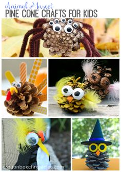 Animal and Insect #pinecone Crafts for Kids. #Fall #Halloween #Nature