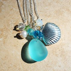 Sterling Silver Shell Locket and Seaglass Necklace by InaraJewels, $36.00