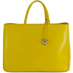 Pre-owned Furla Large Yellow Leather Tote ($249) ❤ liked on Polyvore featuring bags, handbags, tote bags, purses, yellow, leather totes, hand bags, handbags totes, furla tote and leather man bags