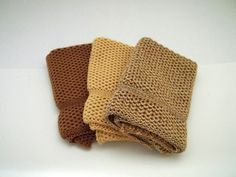 Dishcloths Knit in Cotton in Saffron Buttercup by TheNeedleHouse